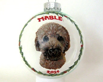 goldendoodle christmas ornament custom pet portrait dog painting holiday decoration dog ornament tree ornament pet loss memorial - Goldendoodle Christmas Decorations
