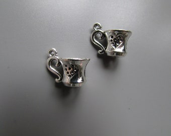 Tea Cup Tibetan silver Jewellery Charm X 2 LARP Steampunk Alice in Wonderland
