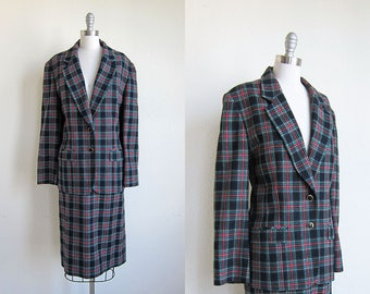 1970s pendleton plaid vintage wool black red suit skirt tartan blazer xl