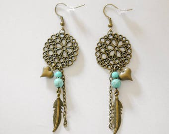 Earrings print flower, charms and beads