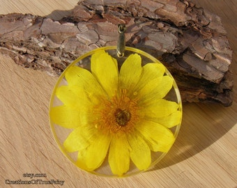 Adonis pendant Summer jewelry Large yellow pendant Real flower Girlfriend gift Womens gift her mom mother Handmade unusual jewelry 171-3