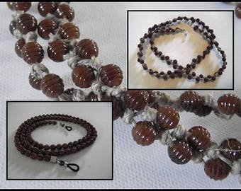 Cord ties glasses mixed Brown beads