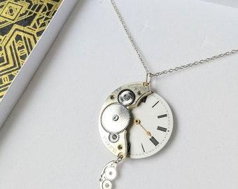 Antique Pocket Watch Dial & Movement Steampunk, Alice in Wonderland Necklace, NL-P12