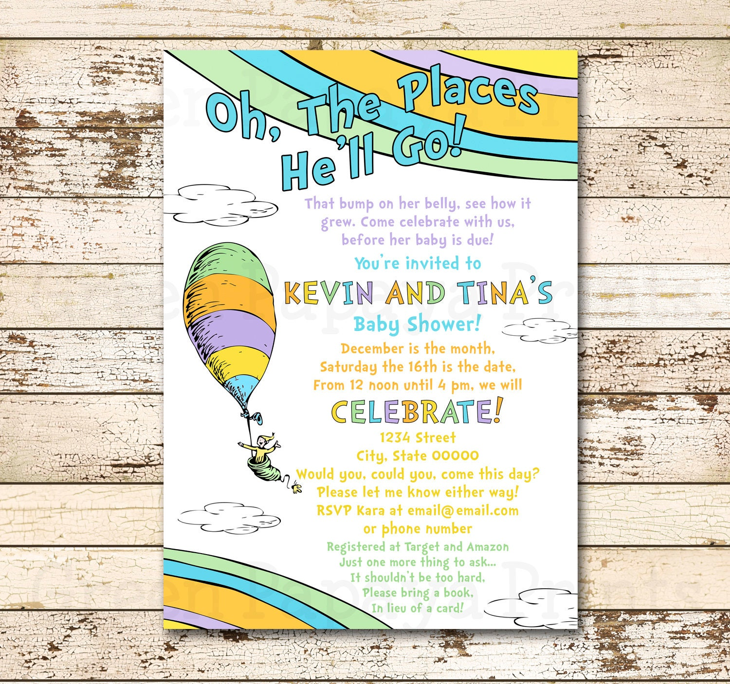 Oh The Places You\'ll Go Baby Shower Invitation Boy