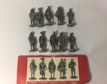 """Vintage Complete Figurine Sets (2) Westair Pewter Silver Look Roman 1.5"""" Tall Figurines (5) Per Set Toy Soldiers"""