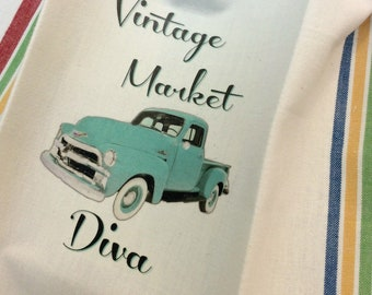 Old truck Aqua Vintage Market Diva towel Farmhouse kitchen Vintage style cotton Shabby Prairie Farmhouse ECS RDT FVGteam