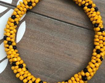Yellow & Black Beaded Kumihimo Ankle Bracelet