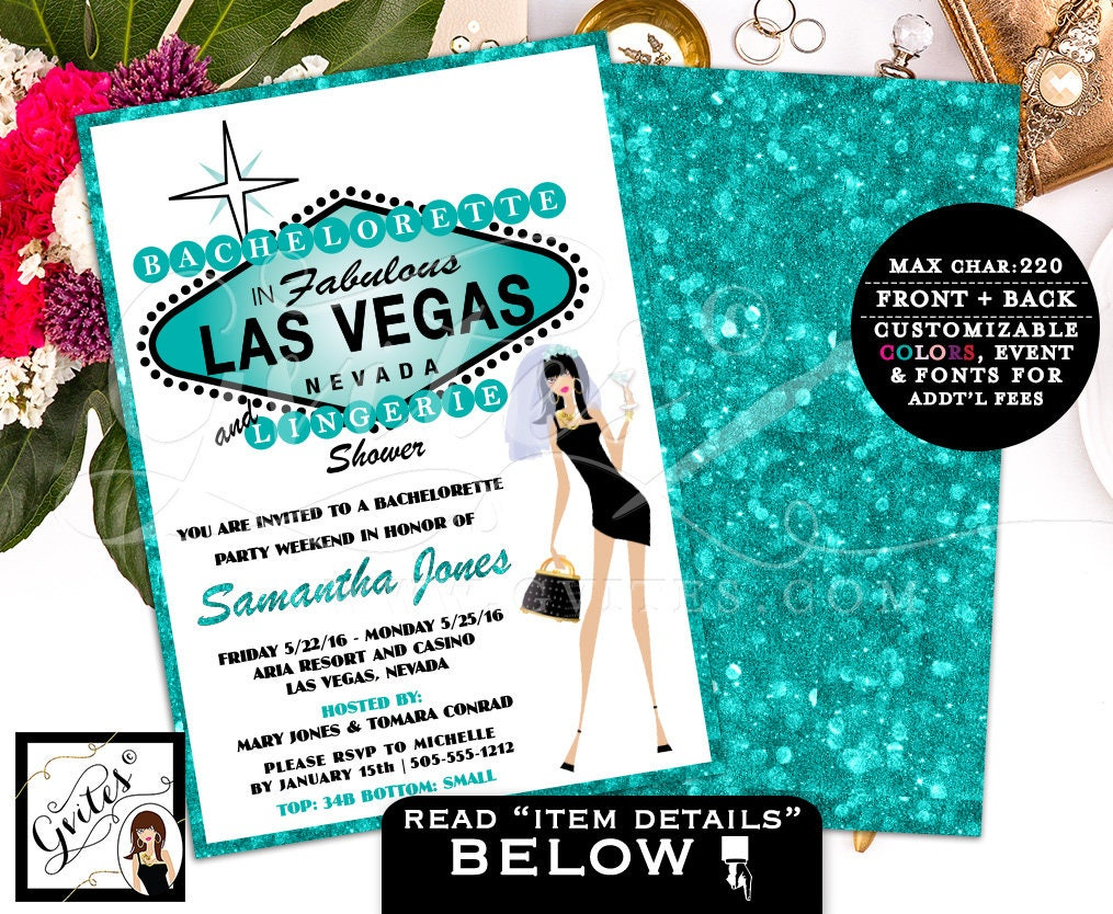 Las Vegas Party invitation, bachelorette & lingerie shower wedding ...