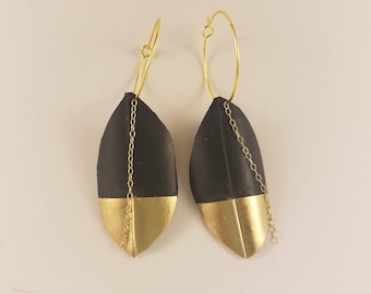 Gold Dipped Leaf Earrings-Upcycled Bicycle Inner Tubes-Vegan Leather-Gold Chain-Bohemian Earrings-Gold Hoops-Faux Leather-Gold Dipped-Artsy