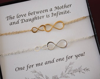 Mother and Daughter Inifnity Bracelet Set, Infinity Jewelry, Best friend Gift, Mothers Day Gift, White Pearl, Silver Bracelet, BFF, Gold