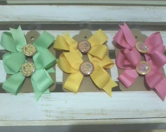 Pig Tail Bows with Tails and Button Centers - Nuts About Dad,  So Beary Cute, and Owl You Need Is Love