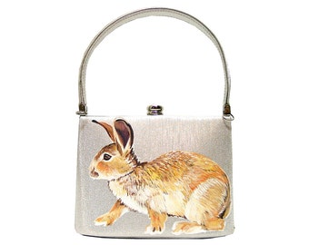 Stepping out - handpainted vintage silver box purse