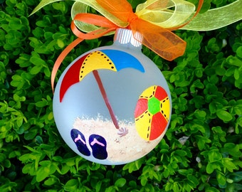 Beach Umbrella and Beach Ball Ornament - Personalized for Wedding, Vacation, Birthday, Christmas, Hand Painted Glass Bauble