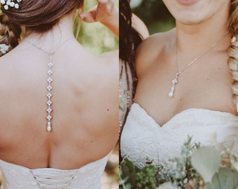 Rose Gold Bridal Backdrop necklace, Wedding back drop necklace, Rose gold Bridal necklace, Wedding jewelry, Crystal pearl necklace, EMMA