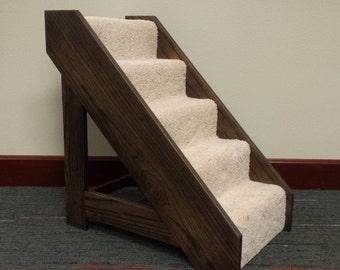 Wood Pet Steps with Carpet Runner