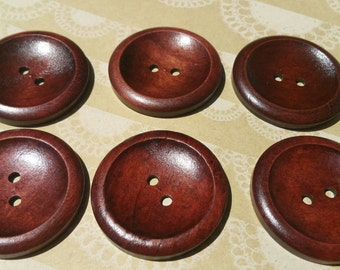 """Large Wood Buttons - Big Wooden Button - Bulk Buttons Sewing - 1 9/16"""" Wide - Dark Color"""