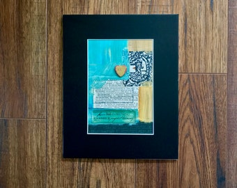 Collage Art, Heart Of Gold, Love Note, Mixed Media Art, Collage, Original Art