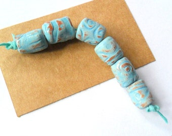 Rustic Terra Cotta Clay Kiln Fired Beads with Distressed Turquoise Glaze, set of 6