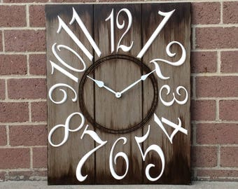 """24"""" x 30"""" Brown and White Wall Clock"""