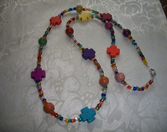 Bright Multi Colored Necklace, 27 inches, Cross Gemstones & Sead Beads Necklace, by Brendas Beading on Etsy