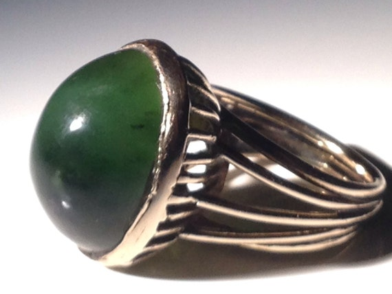 Superb 14K Gold Chrysoprase Ring Size Spinach Green - Size 4