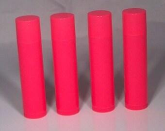 Néon rose Lip Balm Tube w / Cap - paquet de 100