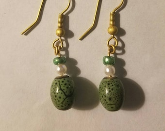 Green Speckle Earrings