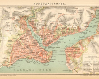 1895 Original Antique Map of Constantinople - Istanbul - and the Bosphorus Strait, Turkey