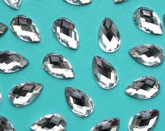 Silver Rhinestone Tear Drop Flatbacks Set of 20 Embellishments for Crafts Scrapbooking Cake Decoration New LB64