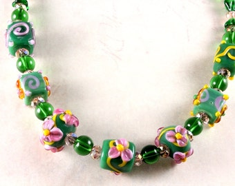 Floral Lampwork Bead Necklace, Green Lampwork, Long Necklace, Czech Glass