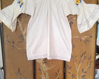 60s embroidered ethnic  hippie / boho peasant smock tunic with flared sleeves