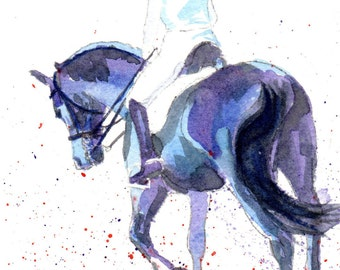 "Expressive watercolor of Dressage Rider - ""Synchronized"""