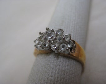 Clear Stone Gold Ring Vintage Size 7 1/2