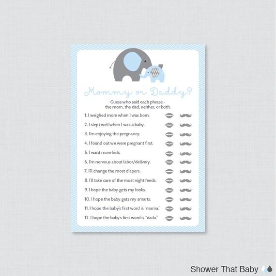 Uitzonderlijk Elephant Mommy or Daddy Baby Shower Quiz Baby Shower He Said &AM48