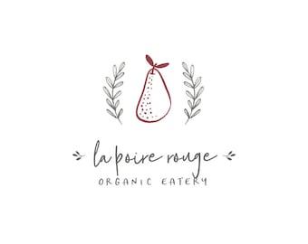 Organic Food Logo, Pear Logo, Food Blog Header, Restaurant Logo, Garden Logo Orchard Logo, Healthy Food Brand, Laurel Logo
