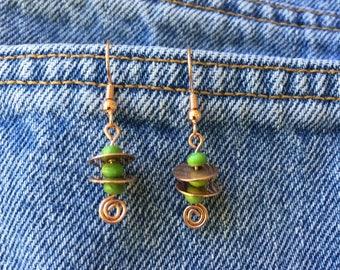 Copper discs and Kingman Turquoise bead drop earrings