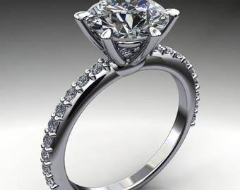 nora ring – 2 carat diamond cut round NEO moissanite engagement ring, diamond pave ring