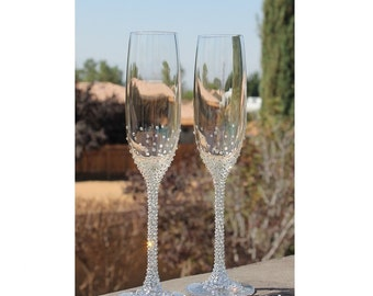 603ad4a461 Swarovski crystal embellished Lenox Crystal Tuscany Flutes, Platinum, Gold  flutes. Toasting glasses.