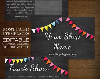 Postcard Template - Chalkboard Rainbow Bunting Flyer Clean Simple - PSD Banner Postcard Announcement Flyer Mini Session Photoshop Publisher