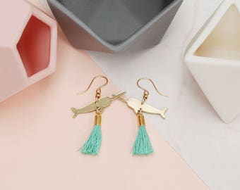 Narwhal Dangle earrings with Turquoise Tassel