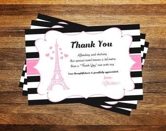 Paris Thank you card, Paris Invitation, Paris Birthday Invitation, Paris Birthday, Paris Theme Party, Eiffel Tower Thank you card PRINTABLE
