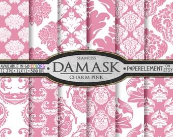 Pink Damask Digital Paper: Pink Damask Paper, Charm Pink Damask Patterns, Soft Pink Damask Backgrounds, Printable Light Pink Damask Designs