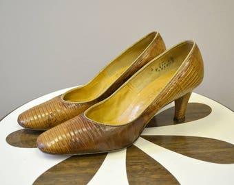 1950s Valley Brown Reptile Heels, Size 6AA