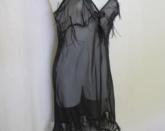 Sheer Black Nightgown Goth Nightgown Italian Feather Nightgown