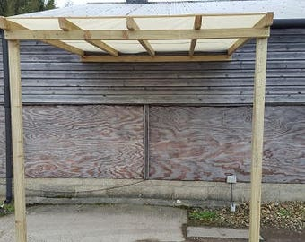 Wooden Garden Lean To Straight Top Pergola with Tarpaulin