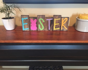 Easter Holiday Home Decor Wood Blocks