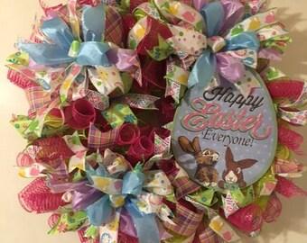 Easter wreath, spring wreath, easter egg wreath, front door