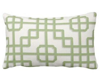 outdoor pillows, green outdoor pillows, trellis pillows, lumbar pillows, green lumbar pillow cover, outdoor chair pillow, green white pillow