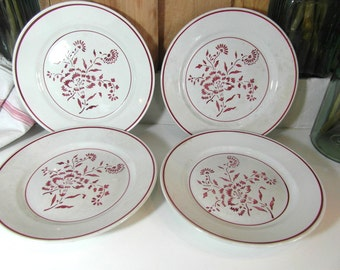 Luneville, 4 dinner plates, white & red, French vintage, French dinnerware, French country decor, French antiques, French chic.