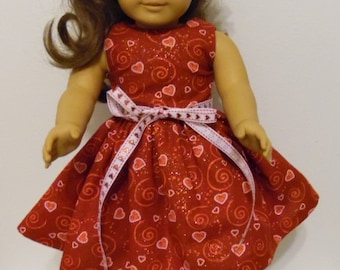 """Valentine's Day Present - 18"""" Doll Dress -  Valentine Hearts Dress for any 18"""" Doll - Doll Clothes"""